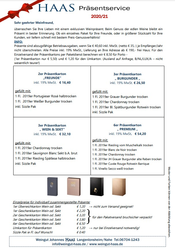 Weingut Haas Präsentservice