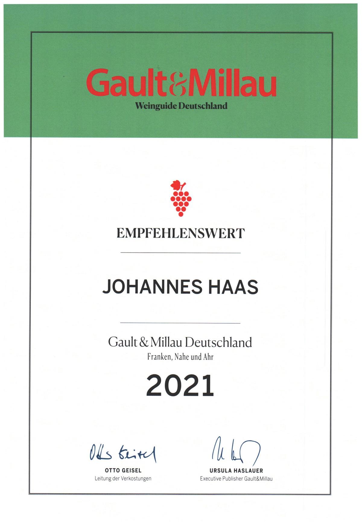 Auszeichnung Gault Millau 2021